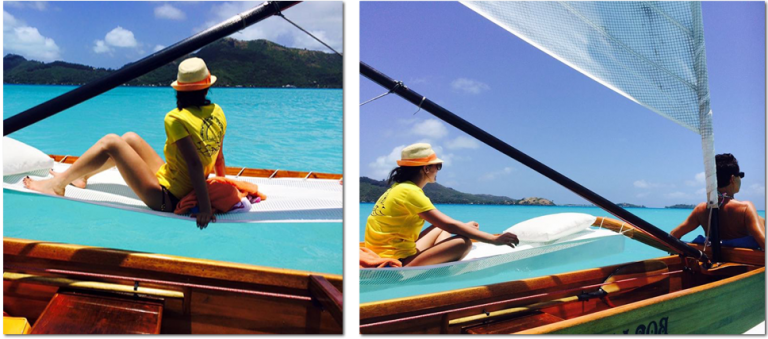 Pirogue ride on Bora Bora's lagoon